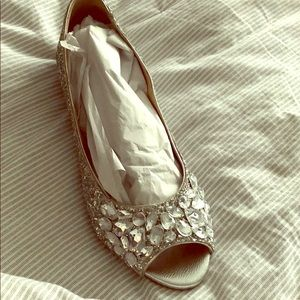 Badgely Mischka Flats-Silver Glitter Size 9.5 NEW
